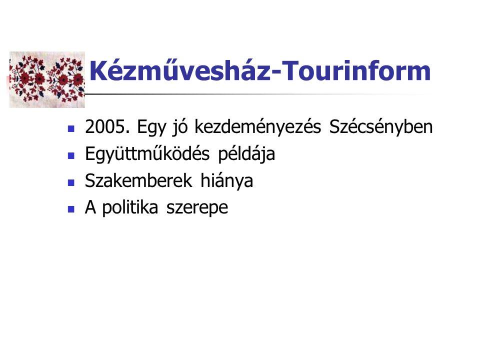 Kézművesház-Tourinform 2005. Egy jó kezdeményezés Szécsényben Együttműködés példája Szakemberek hiánya A politika szerepe