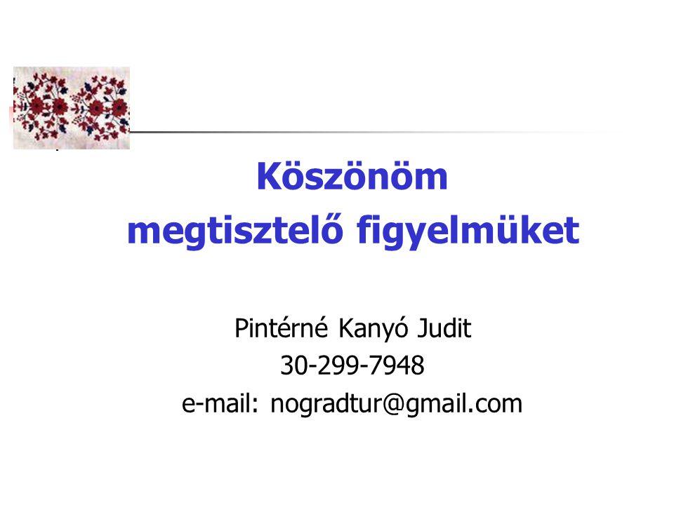 Köszönöm megtisztelő figyelmüket Pintérné Kanyó Judit 30-299-7948 e-mail: nogradtur@gmail.com