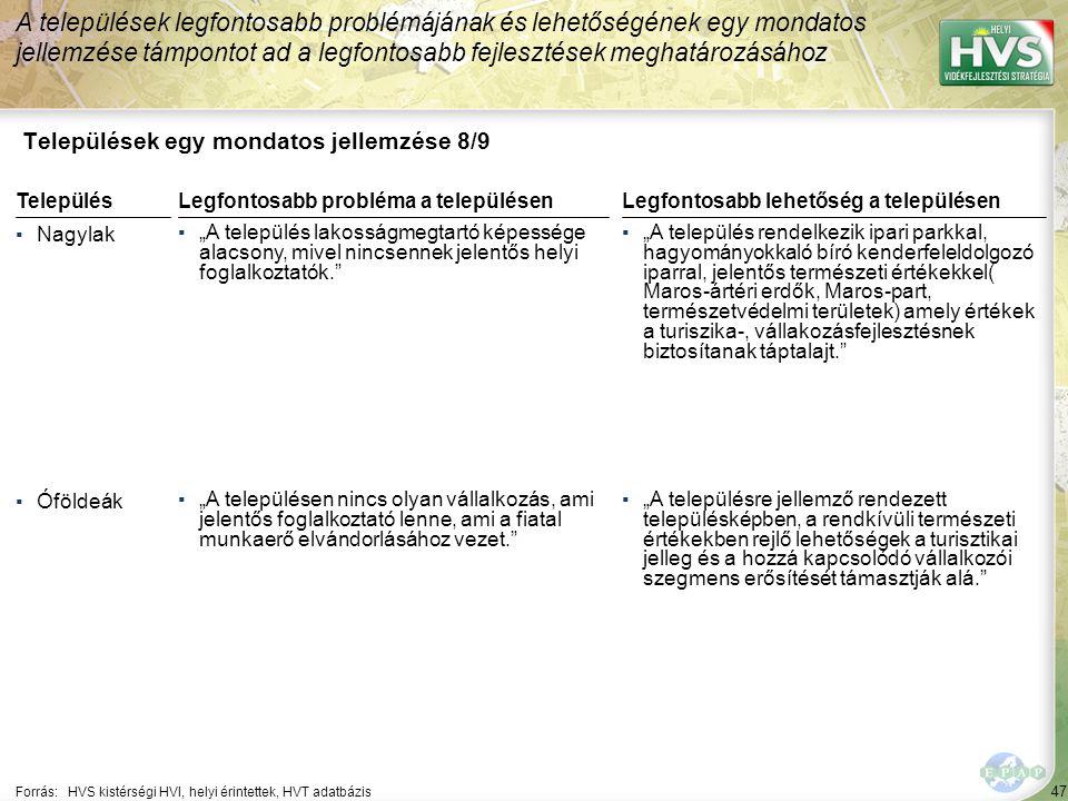 """47 Települések egy mondatos jellemzése 8/9 A települések legfontosabb problémájának és lehetőségének egy mondatos jellemzése támpontot ad a legfontosabb fejlesztések meghatározásához Forrás:HVS kistérségi HVI, helyi érintettek, HVT adatbázis TelepülésLegfontosabb probléma a településen ▪Nagylak ▪""""A település lakosságmegtartó képessége alacsony, mivel nincsennek jelentős helyi foglalkoztatók. ▪Óföldeák ▪""""A településen nincs olyan vállalkozás, ami jelentős foglalkoztató lenne, ami a fiatal munkaerő elvándorlásához vezet. Legfontosabb lehetőség a településen ▪""""A település rendelkezik ipari parkkal, hagyományokkaló bíró kenderfeleldolgozó iparral, jelentős természeti értékekkel( Maros-ártéri erdők, Maros-part, természetvédelmi területek) amely értékek a turiszika-, vállakozásfejlesztésnek biztosítanak táptalajt. ▪""""A településre jellemző rendezett településképben, a rendkívüli természeti értékekben rejlő lehetőségek a turisztikai jelleg és a hozzá kapcsolódó vállalkozói szegmens erősítését támasztják alá."""