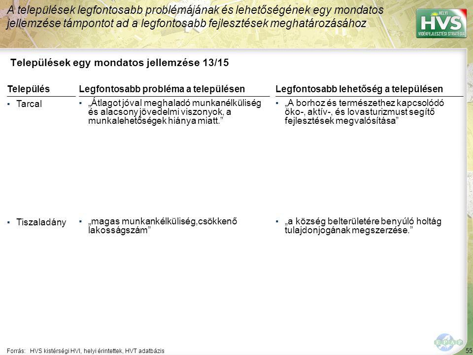 """55 Települések egy mondatos jellemzése 13/15 A települések legfontosabb problémájának és lehetőségének egy mondatos jellemzése támpontot ad a legfontosabb fejlesztések meghatározásához Forrás:HVS kistérségi HVI, helyi érintettek, HVT adatbázis TelepülésLegfontosabb probléma a településen ▪Tarcal ▪""""Átlagot jóval meghaladó munkanélküliség és alacsony jövedelmi viszonyok, a munkalehetőségek hiánya miatt. ▪Tiszaladány ▪""""magas munkankélküliség,csökkenő lakosságszám Legfontosabb lehetőség a településen ▪""""A borhoz és természethez kapcsolódó öko-, aktív-, és lovasturizmust segítő fejlesztések megvalósítása ▪""""a község belterületére benyúló holtág tulajdonjogának megszerzése."""