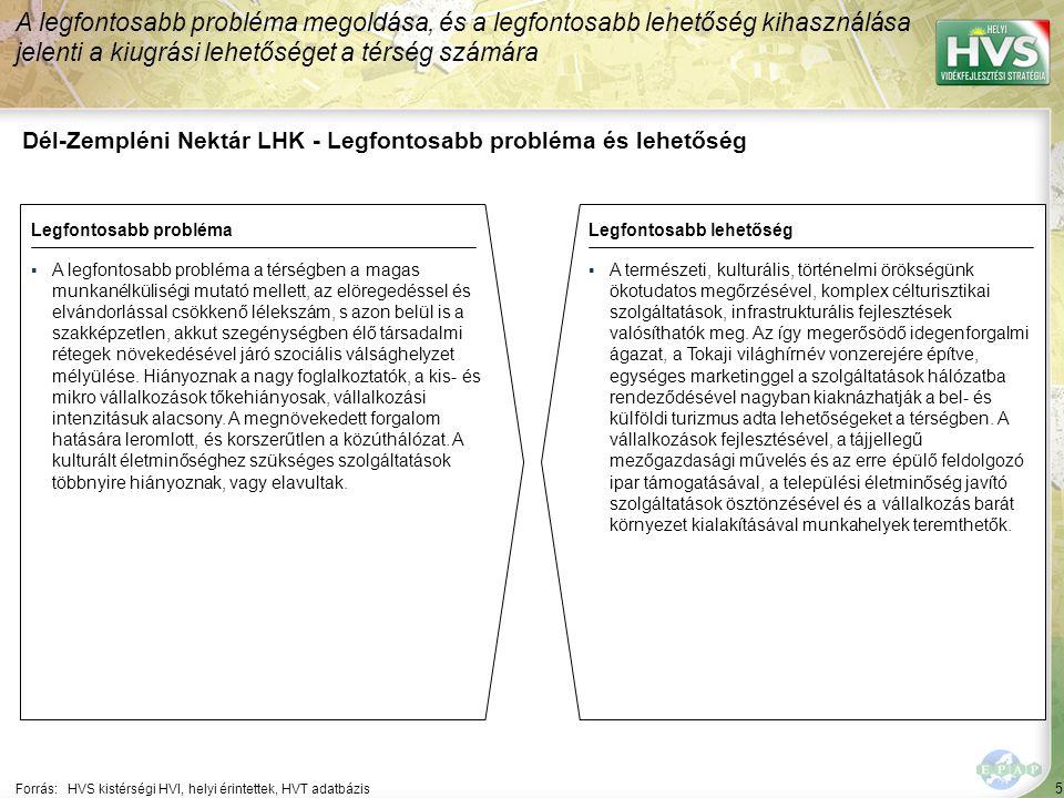 5 Dél-Zempléni Nektár LHK - Legfontosabb probléma és lehetőség A legfontosabb probléma megoldása, és a legfontosabb lehetőség kihasználása jelenti a kiugrási lehetőséget a térség számára Forrás:HVS kistérségi HVI, helyi érintettek, HVT adatbázis Legfontosabb problémaLegfontosabb lehetőség ▪A legfontosabb probléma a térségben a magas munkanélküliségi mutató mellett, az elöregedéssel és elvándorlással csökkenő lélekszám, s azon belül is a szakképzetlen, akkut szegénységben élő társadalmi rétegek növekedésével járó szociális válsághelyzet mélyülése.