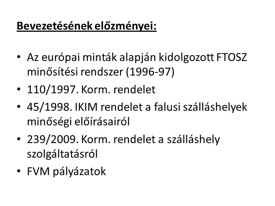 Bevezetésének előzményei: Az európai minták alapján kidolgozott FTOSZ minősítési rendszer (1996-97) 110/1997. Korm. rendelet 45/1998. IKIM rendelet a