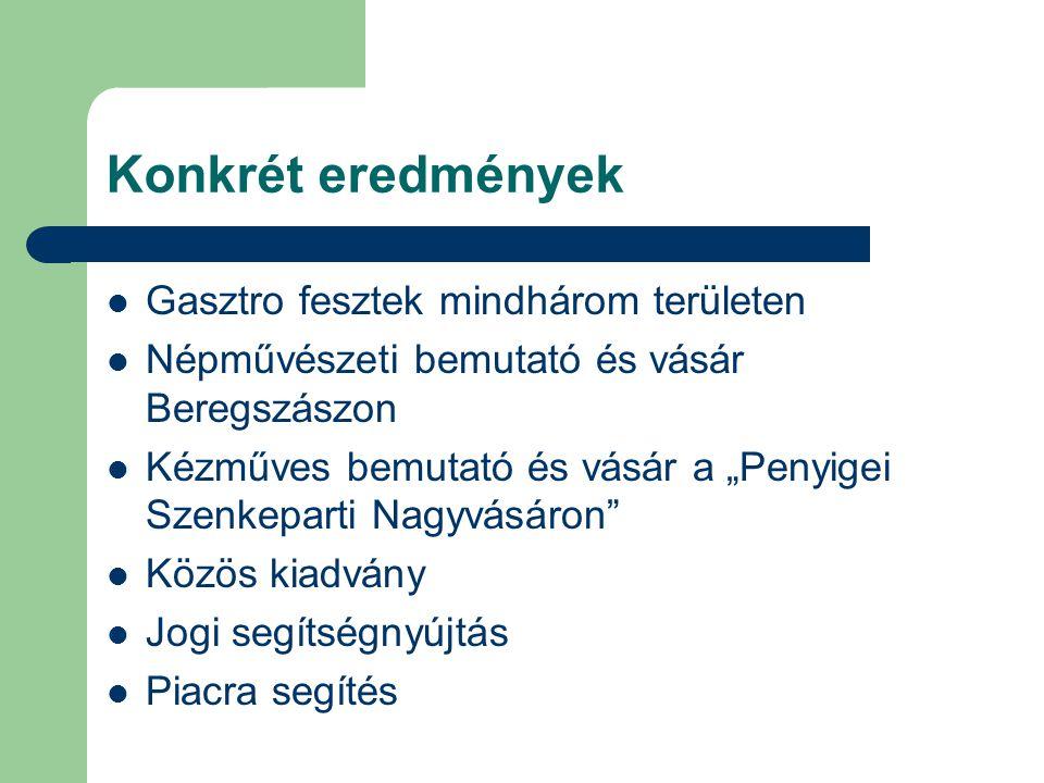"""Konkrét eredmények Gasztro fesztek mindhárom területen Népművészeti bemutató és vásár Beregszászon Kézműves bemutató és vásár a """"Penyigei Szenkeparti"""