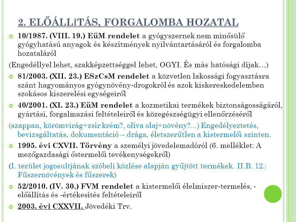 2. ELŐÁLL Í TÁS, FORGALOMBA HOZATAL 10/1987. (VIII. 19.) EüM rendelet a gyógyszernek nem minősülő gyógyhatású anyagok és készítmények nyilvántartásáró
