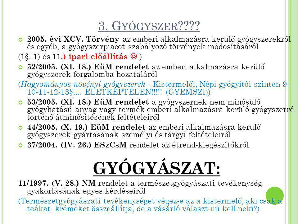 3. G YÓGYSZER ???? 2005. évi XCV. Törvény az emberi alkalmazásra kerülő gyógyszerekről és egyéb, a gyógyszerpiacot szabályozó törvények módosításáról