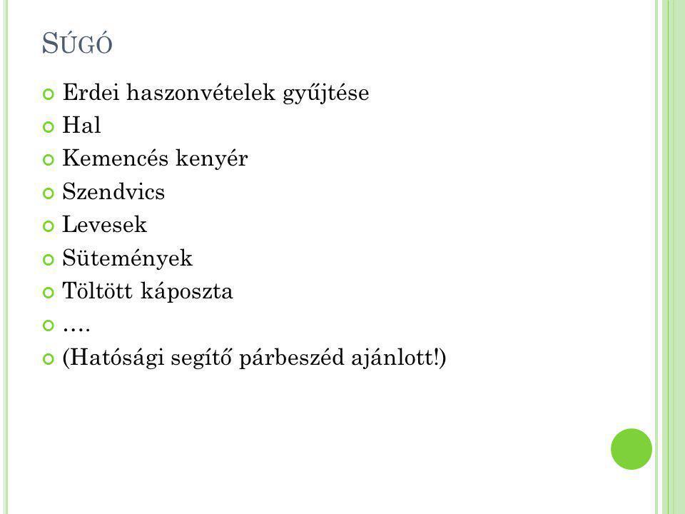 S ÚGÓ Erdei haszonvételek gyűjtése Hal Kemencés kenyér Szendvics Levesek Sütemények Töltött káposzta …. (Hatósági segítő párbeszéd ajánlott!)