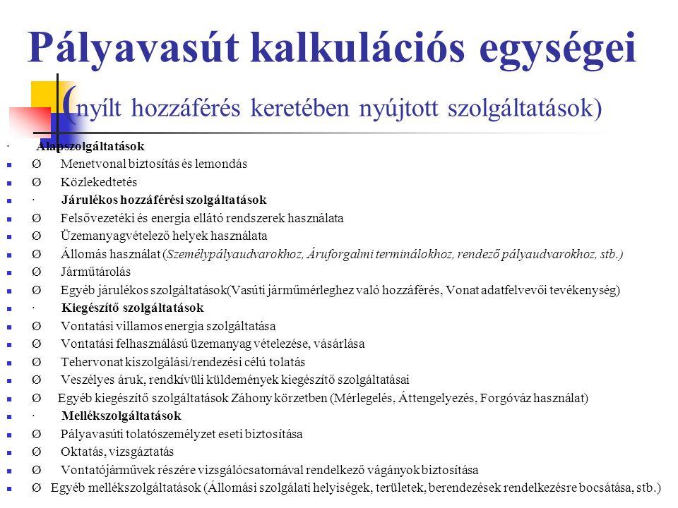 Pályavasút kalkulációs egységei ( nyílt hozzáférés keretében nyújtott szolgáltatások) · Alapszolgáltatások Ø Menetvonal biztosítás és lemondás Ø Közle