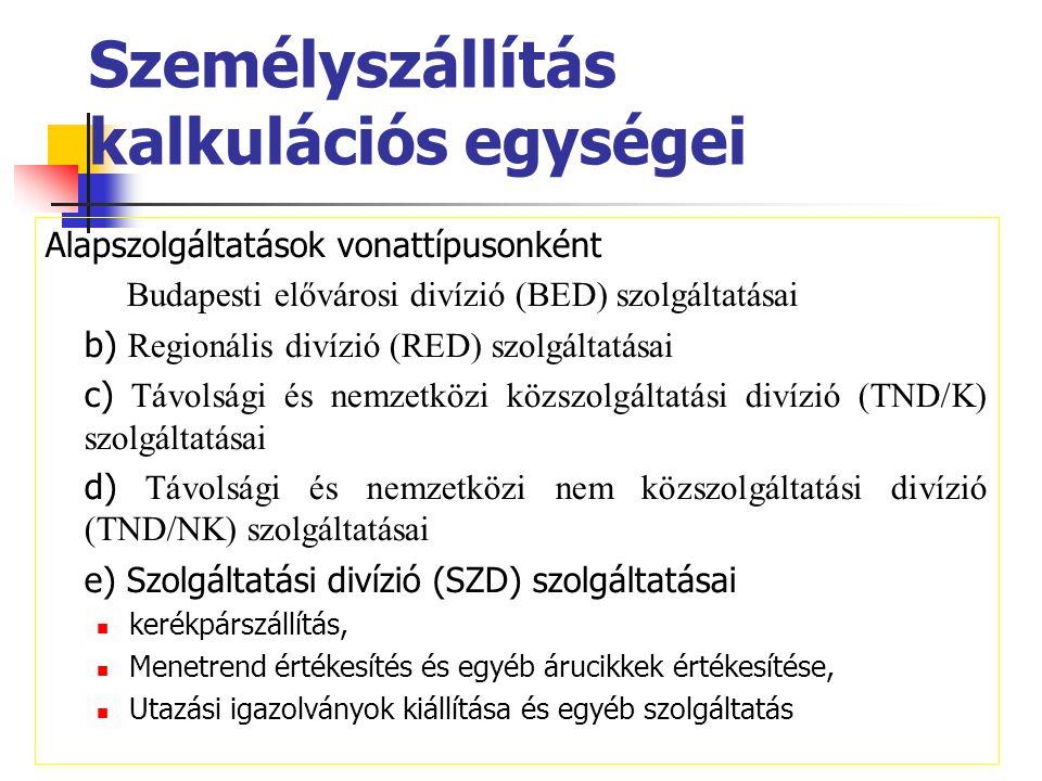 Személyszállítás kalkulációs egységei Alapszolgáltatások vonattípusonként a) Budapesti elővárosi divízió (BED) szolgáltatásai b) Regionális divízió (R