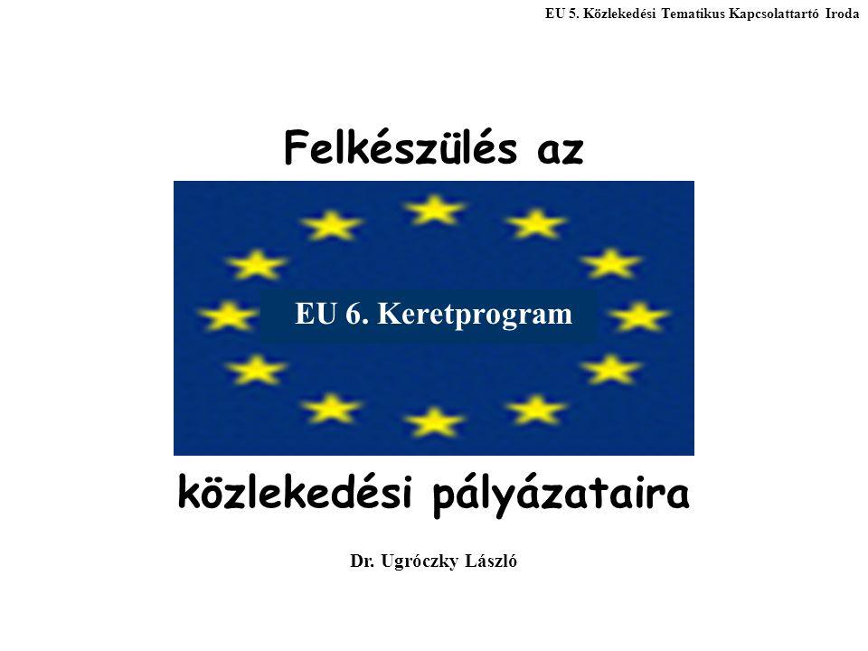 EU 5. Közlekedési Tematikus Kapcsolattartó Iroda Felkészülés az közlekedési pályázataira Dr. Ugróczky László EU 6. Keretprogram