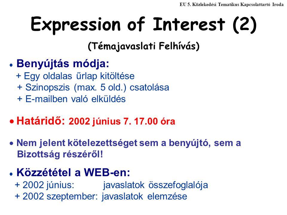Expression of Interest (2) (Témajavaslati Felhívás)  Benyújtás módja: + Egy oldalas űrlap kitöltése + Szinopszis (max. 5 old.) csatolása + E-mailben
