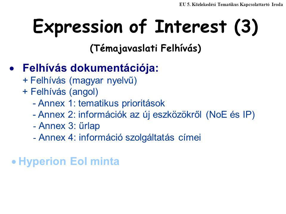 Expression of Interest (3) (Témajavaslati Felhívás)  Felhívás dokumentációja: + Felhívás (magyar nyelvű) + Felhívás (angol) - Annex 1: tematikus prioritások - Annex 2: információk az új eszközökről (NoE és IP) - Annex 3: űrlap - Annex 4: információ szolgáltatás címei  Hyperion EoI minta EU 5.