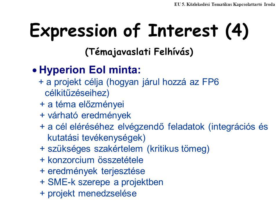 Expression of Interest (4) (Témajavaslati Felhívás)  Hyperion EoI minta: + a projekt célja (hogyan járul hozzá az FP6 célkitűzéseihez) + a téma előzményei + várható eredmények + a cél eléréséhez elvégzendő feladatok (integrációs és kutatási tevékenységek) + szükséges szakértelem (kritikus tömeg) + konzorcium összetétele + eredmények terjesztése + SME-k szerepe a projektben + projekt menedzselése EU 5.