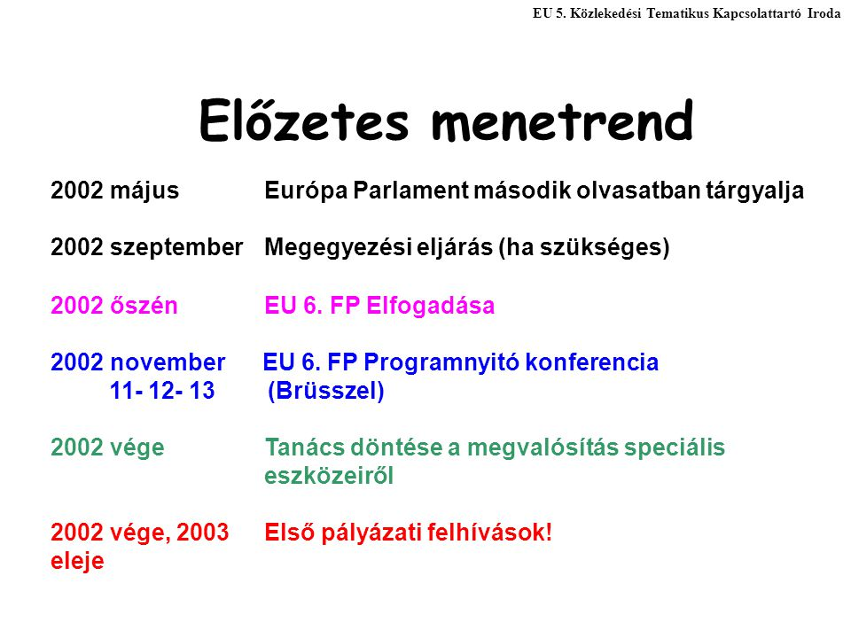 Előzetes menetrend 2002 májusEurópa Parlament második olvasatban tárgyalja 2002 szeptember Megegyezési eljárás (ha szükséges) 2002 őszén EU 6. FP Elfo