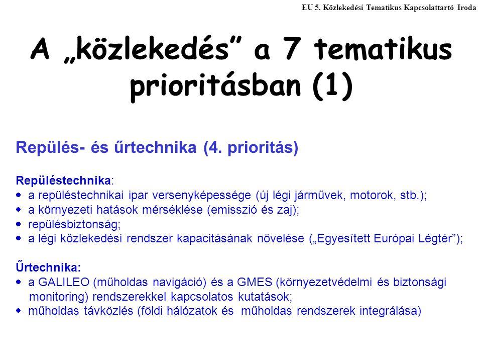 """A """"közlekedés"""" a 7 tematikus prioritásban (1) Repülés- és űrtechnika (4. prioritás) Repüléstechnika:  a repüléstechnikai ipar versenyképessége (új lé"""