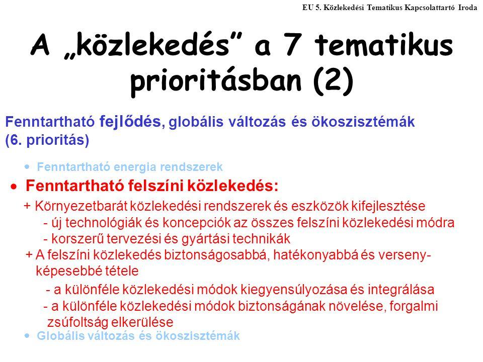 """A """"közlekedés"""" a 7 tematikus prioritásban (2) Fenntartható fejlődés, globális változás és ökoszisztémák (6. prioritás)  Fenntartható felszíni közleke"""