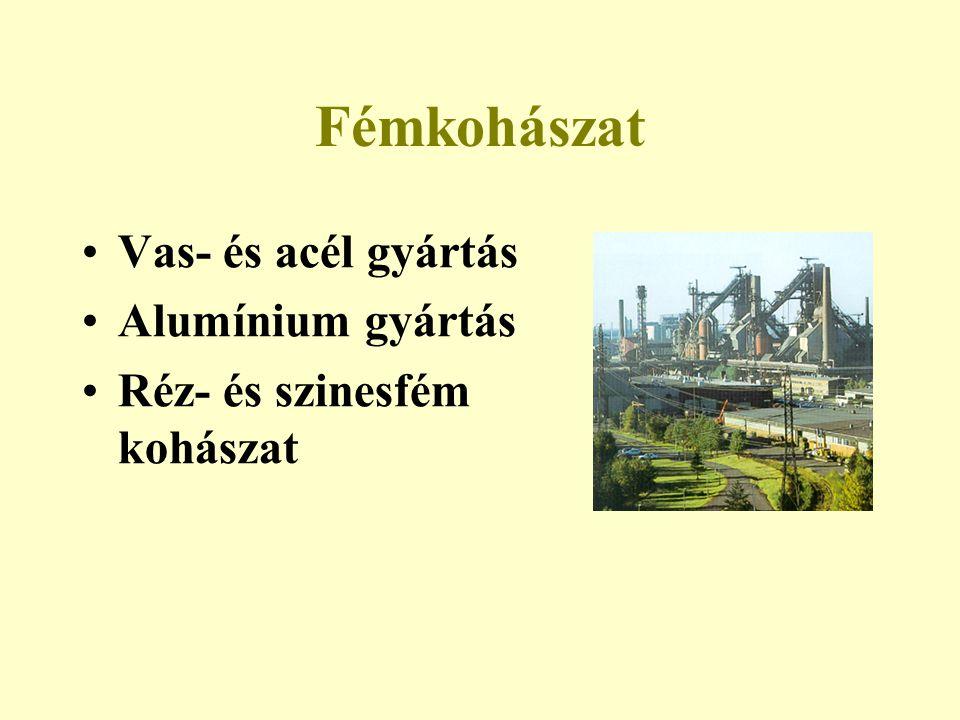 Fémkohászat Vas- és acél gyártás Alumínium gyártás Réz- és szinesfém kohászat