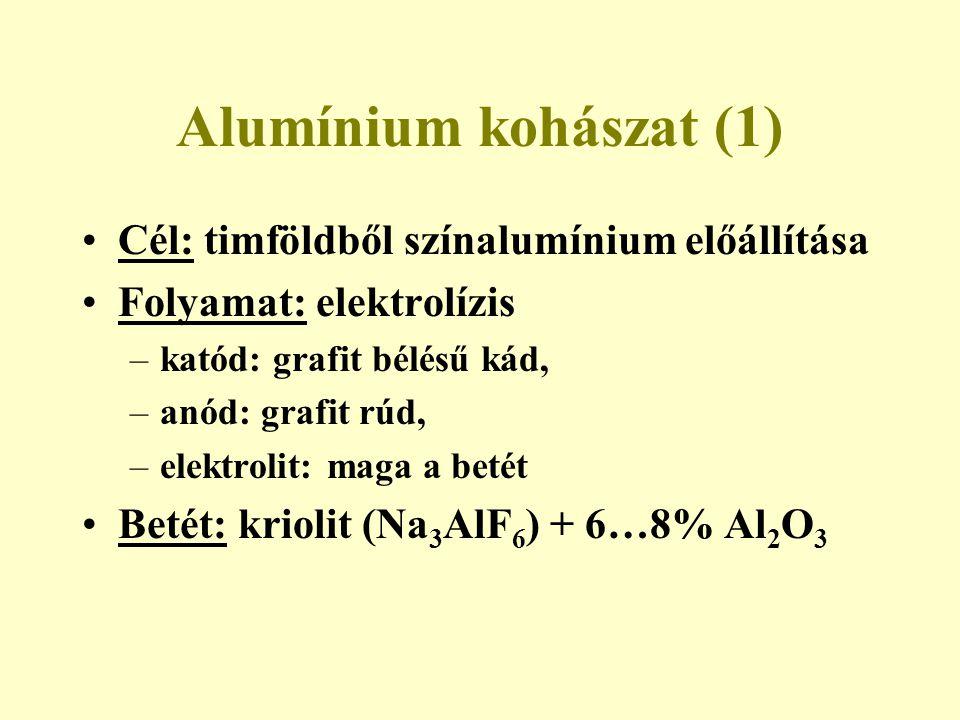 Alumínium kohászat (1) Cél: timföldből színalumínium előállítása Folyamat: elektrolízis –katód: grafit bélésű kád, –anód: grafit rúd, –elektrolit: mag