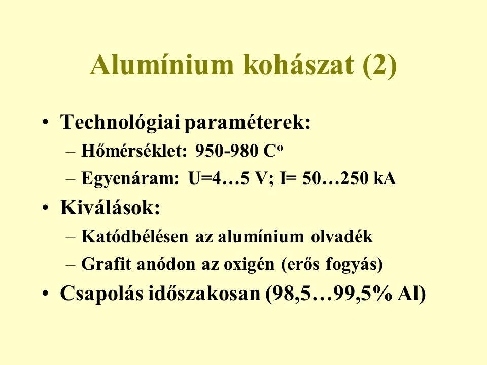 Alumínium kohászat (2) Technológiai paraméterek: –Hőmérséklet: 950-980 C o –Egyenáram: U=4…5 V; I= 50…250 kA Kiválások: –Katódbélésen az alumínium olv