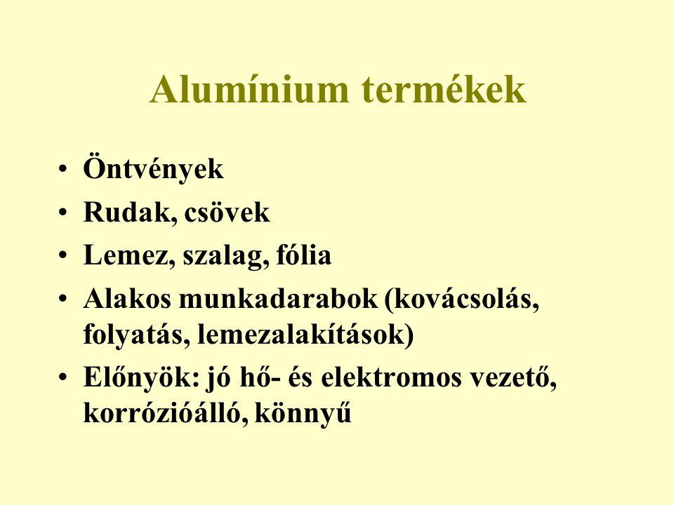Alumínium termékek Öntvények Rudak, csövek Lemez, szalag, fólia Alakos munkadarabok (kovácsolás, folyatás, lemezalakítások) Előnyök: jó hő- és elektro