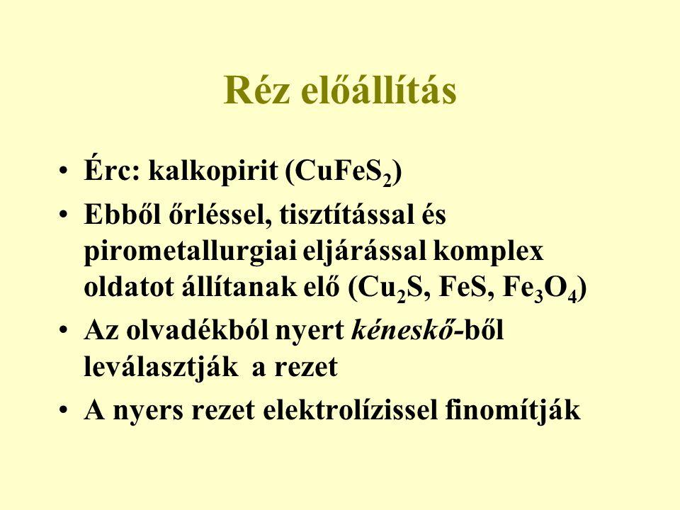 Réz előállítás Érc: kalkopirit (CuFeS 2 ) Ebből őrléssel, tisztítással és pirometallurgiai eljárással komplex oldatot állítanak elő (Cu 2 S, FeS, Fe 3