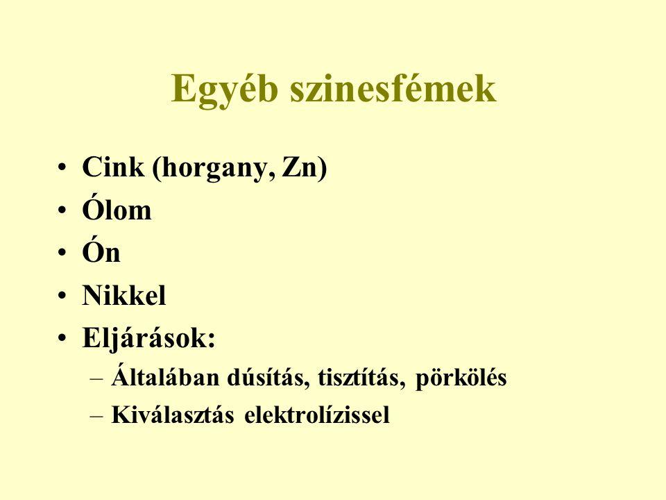 Egyéb szinesfémek Cink (horgany, Zn) Ólom Ón Nikkel Eljárások: –Általában dúsítás, tisztítás, pörkölés –Kiválasztás elektrolízissel