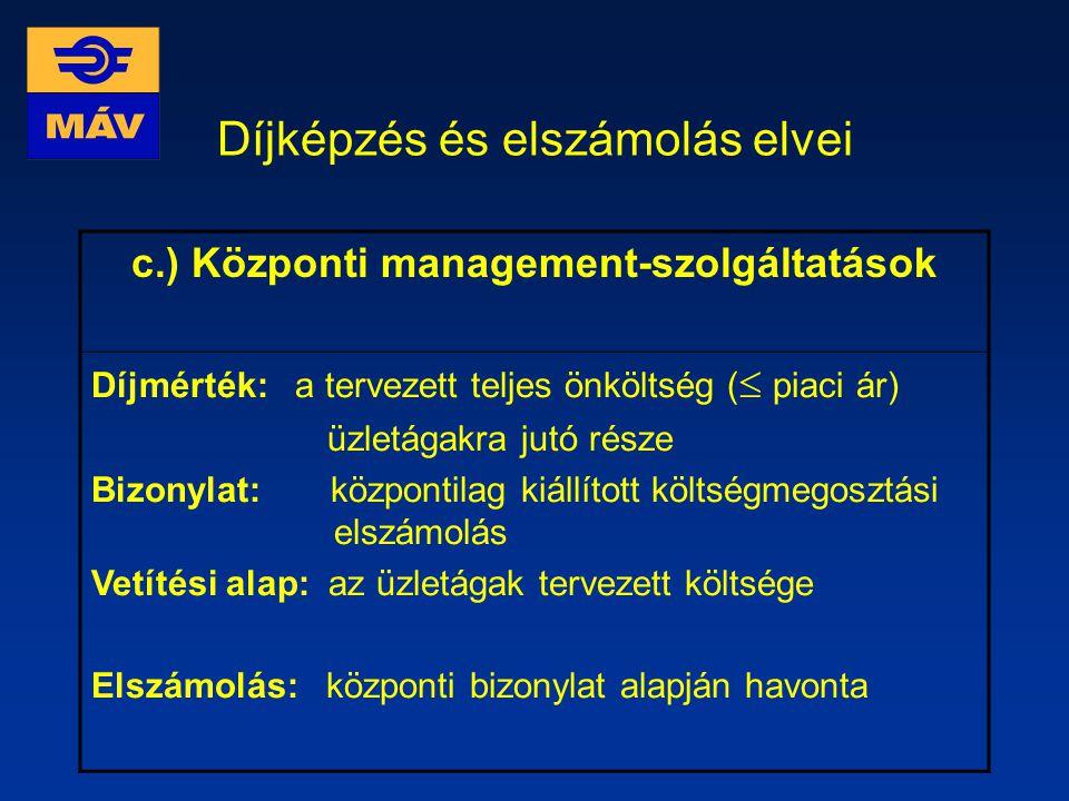 Díjképzés és elszámolás elvei b.) Központilag elszámolt PHD és vontatási díj Díjmérték: IDKF és Gépészet által meghirdetett egységdíjak Bizonylat: - m