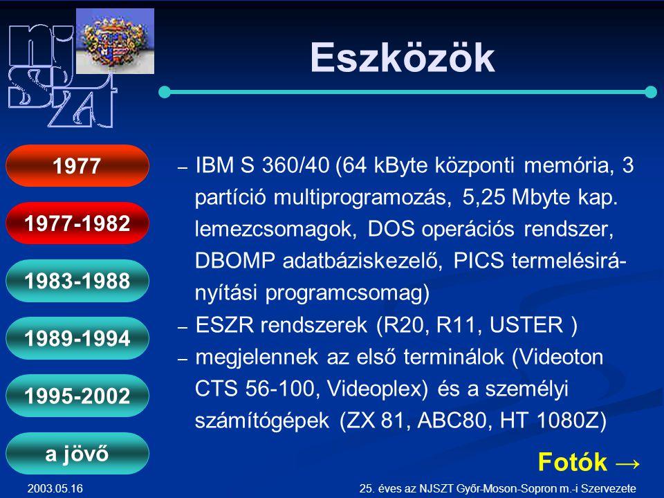 2003.05.1625. éves az NJSZT Győr-Moson-Sopron m.-i Szervezete Eszközök ― ― IBM S 360/40 (64 kByte központi memória, 3 partíció multiprogramozás, 5,25