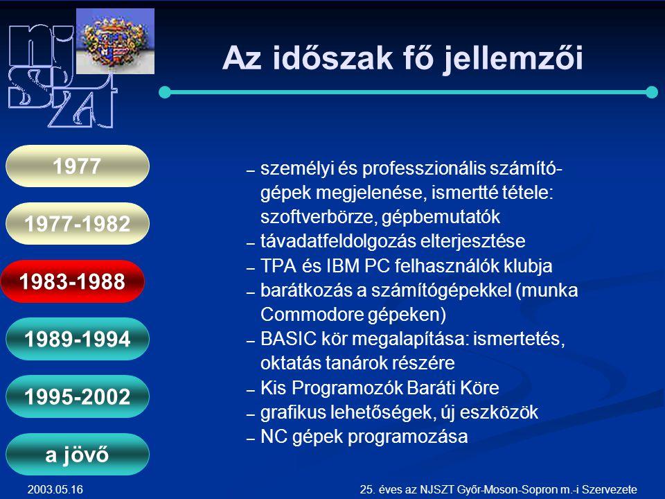 2003.05.1625. éves az NJSZT Győr-Moson-Sopron m.-i Szervezete Az időszak fő jellemzői ― ― személyi és professzionális számító- gépek megjelenése, isme