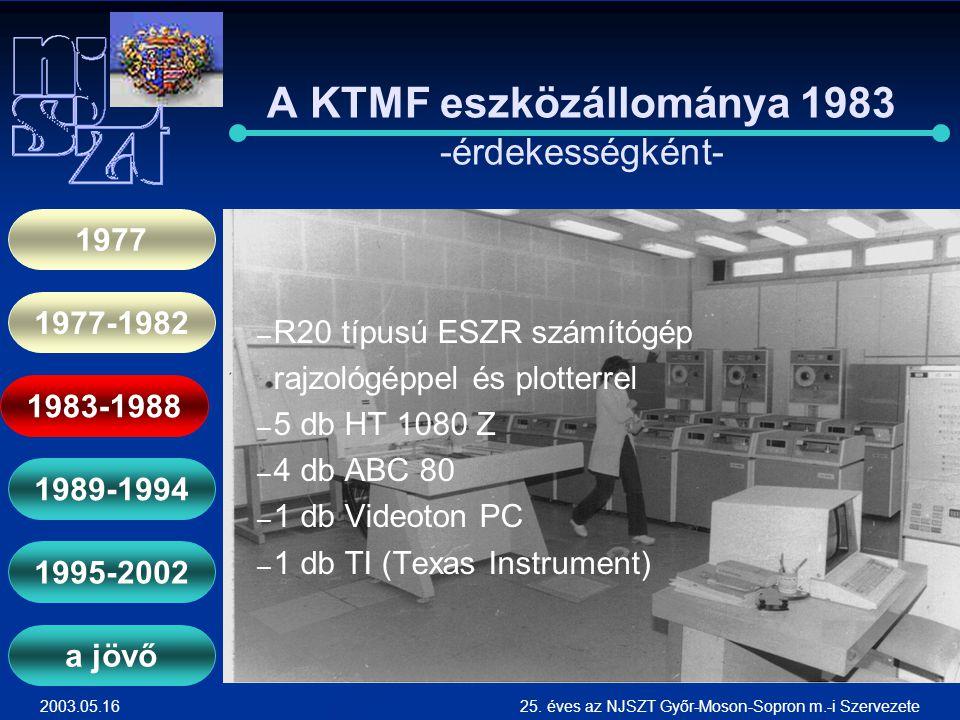 2003.05.1625. éves az NJSZT Győr-Moson-Sopron m.-i Szervezete A KTMF eszközállománya 1983 -érdekességként- ― ― R20 típusú ESZR számítógép rajzológéppe
