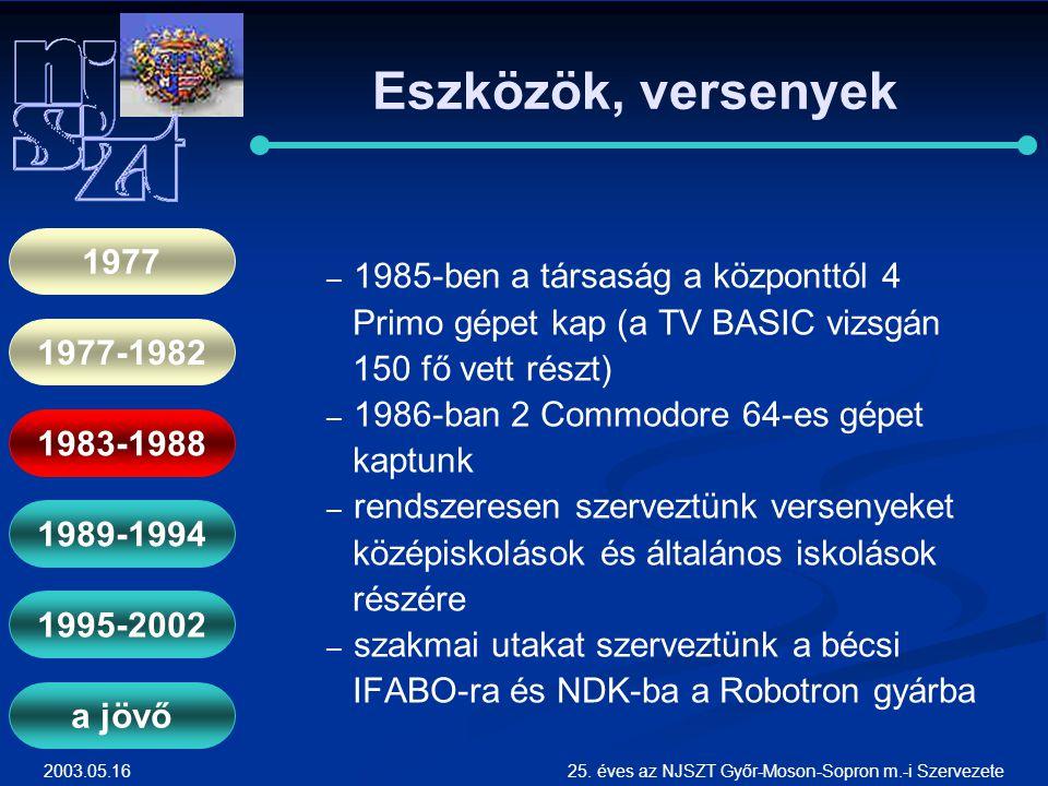 2003.05.1625. éves az NJSZT Győr-Moson-Sopron m.-i Szervezete Eszközök, versenyek ― ― 1985-ben a társaság a központtól 4 Primo gépet kap (a TV BASIC v