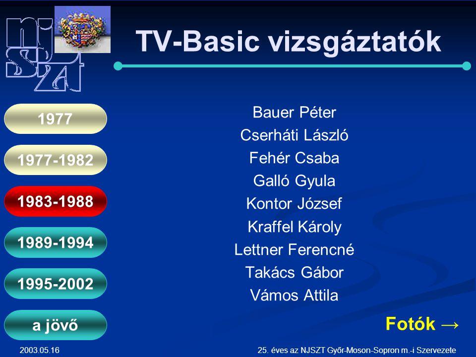 2003.05.1625. éves az NJSZT Győr-Moson-Sopron m.-i Szervezete TV-Basic vizsgáztatók Bauer Péter Cserháti László Fehér Csaba Galló Gyula Kontor József