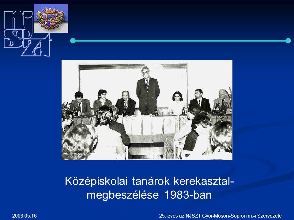 2003.05.1625. éves az NJSZT Győr-Moson-Sopron m.-i Szervezete Középiskolai tanárok kerekasztal- megbeszélése 1983-ban