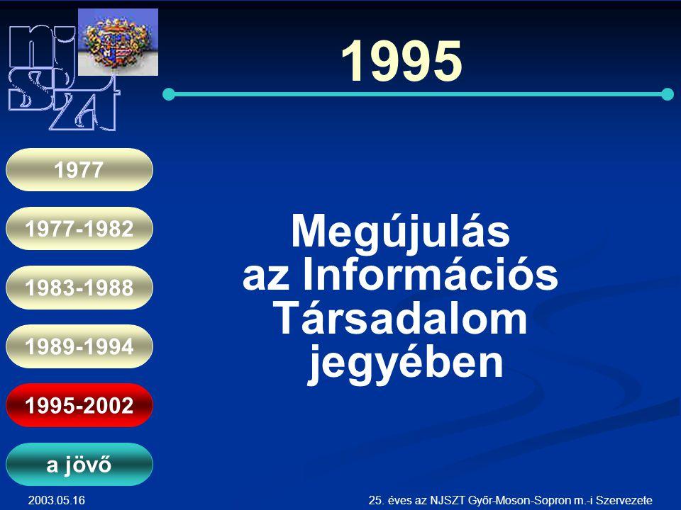 2003.05.1625. éves az NJSZT Győr-Moson-Sopron m.-i Szervezete 1995 Megújulás az Információs Társadalom jegyében 1977 1977-1982 1983-1988 1989-1994 199