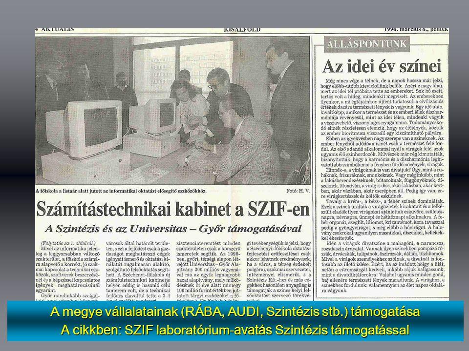A megye vállalatainak (RÁBA, AUDI, Szintézis stb.) támogatása A cikkben: SZIF laboratórium -avatás Szintézis támogatással