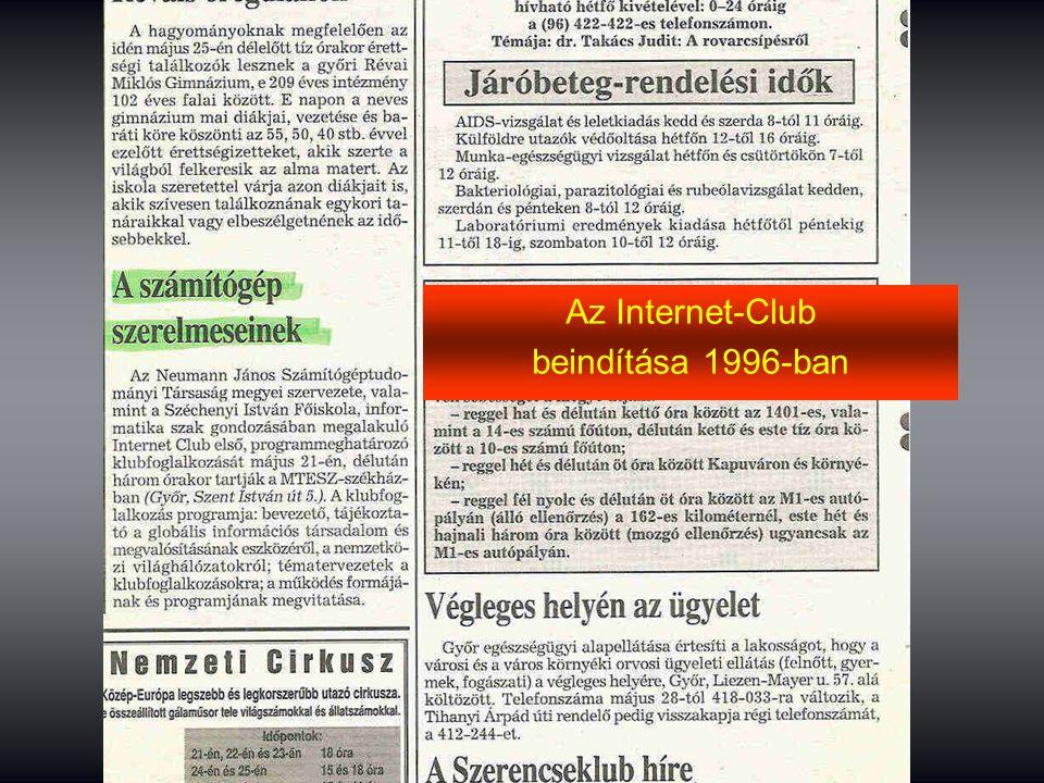 Az Internet-Club beindítása 1996-ban