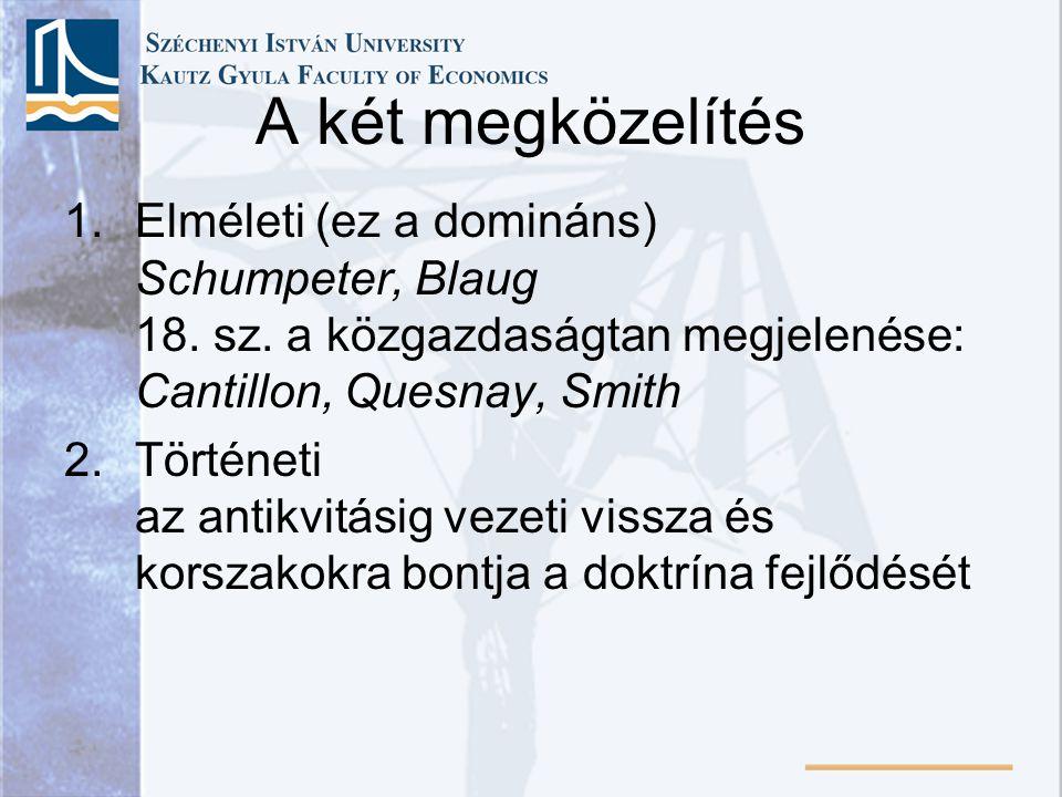 A két megközelítés 1.Elméleti (ez a domináns) Schumpeter, Blaug 18. sz. a közgazdaságtan megjelenése: Cantillon, Quesnay, Smith 2.Történeti az antikvi