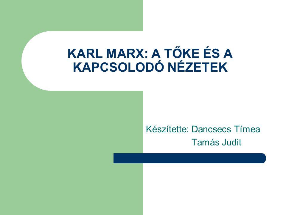KARL MARX: A TŐKE ÉS A KAPCSOLODÓ NÉZETEK Készítette: Dancsecs Tímea Tamás Judit