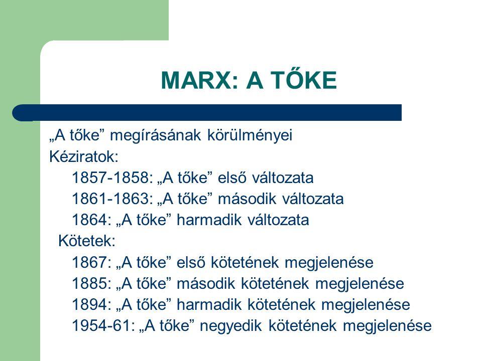 """MARX: A TŐKE """"A tőke"""" megírásának körülményei Kéziratok: 1857-1858: """"A tőke"""" első változata 1861-1863: """"A tőke"""" második változata 1864: """"A tőke"""" harma"""