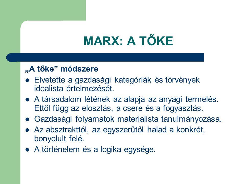"""MARX: A TŐKE """"A tőke"""" módszere Elvetette a gazdasági kategóriák és törvények idealista értelmezését. A társadalom létének az alapja az anyagi termelés"""