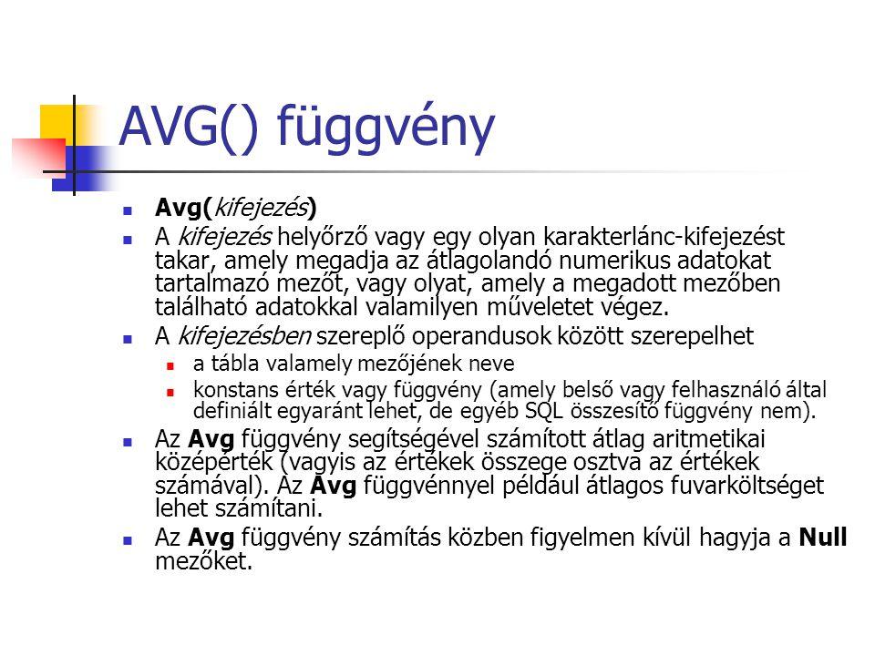 AVG() függvény Avg(kifejezés) A kifejezés helyőrző vagy egy olyan karakterlánc-kifejezést takar, amely megadja az átlagolandó numerikus adatokat tarta
