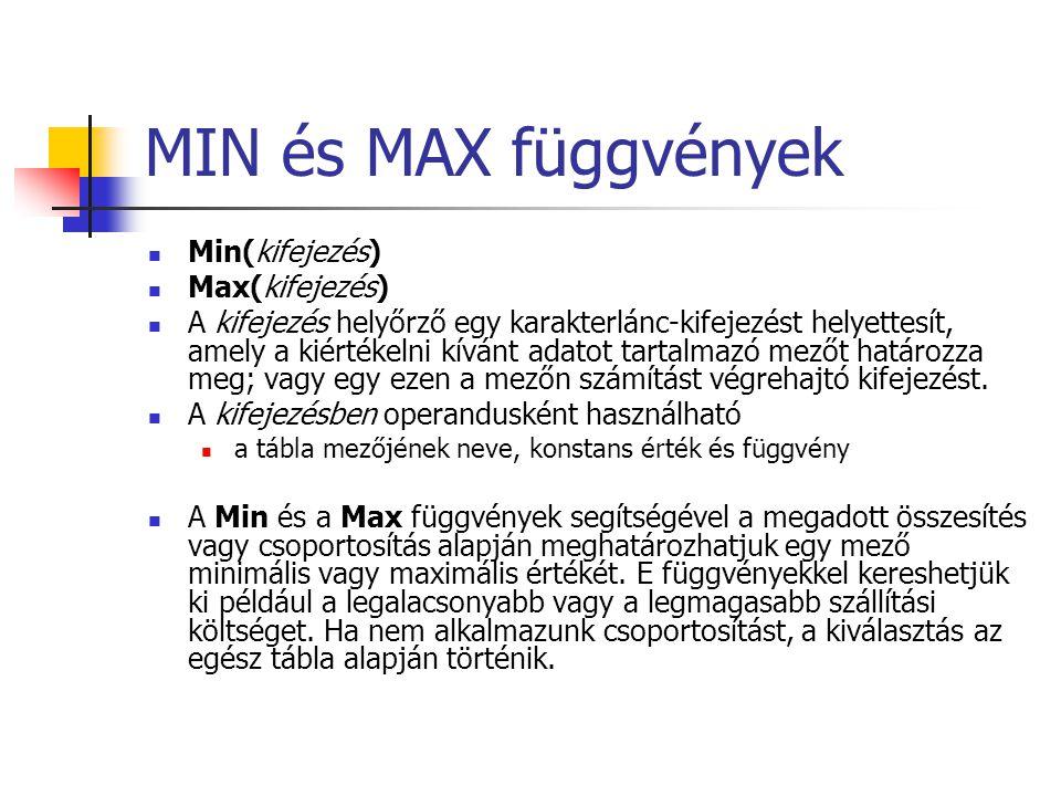 MIN és MAX függvények Min(kifejezés) Max(kifejezés) A kifejezés helyőrző egy karakterlánc-kifejezést helyettesít, amely a kiértékelni kívánt adatot ta