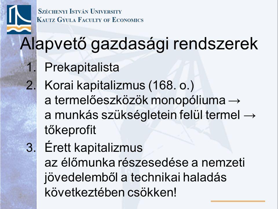 1.Prekapitalista 2.Korai kapitalizmus (168. o.) a termelőeszközök monopóliuma → a munkás szükségletein felül termel → tőkeprofit 3.Érett kapitalizmus