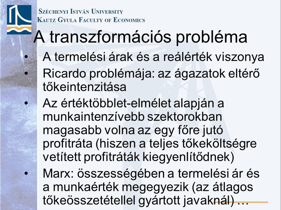 A termelési árak és a reálérték viszonya Ricardo problémája: az ágazatok eltérő tőkeintenzitása Az értéktöbblet-elmélet alapján a munkaintenzívebb sze