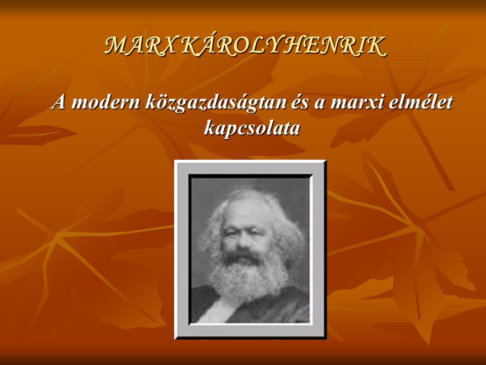 MARX KÁROLY HENRIK A modern közgazdaságtan és a marxi elmélet kapcsolata