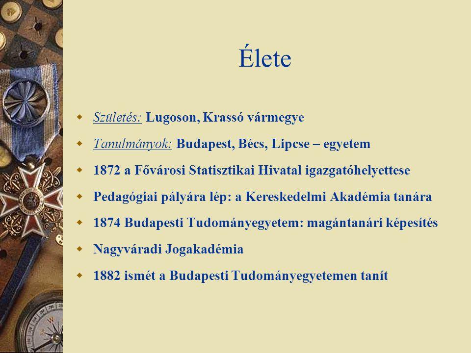 Élete  Születés: Lugoson, Krassó vármegye  Tanulmányok: Budapest, Bécs, Lipcse – egyetem  1872 a Fővárosi Statisztikai Hivatal igazgatóhelyettese 