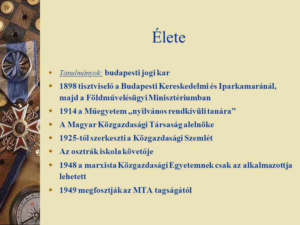 Élete  Tanulmányok: budapesti jogi kar  1898 tisztviselő a Budapesti Kereskedelmi és Iparkamaránál, majd a Földművelésügyi Minisztériumban  1914 a