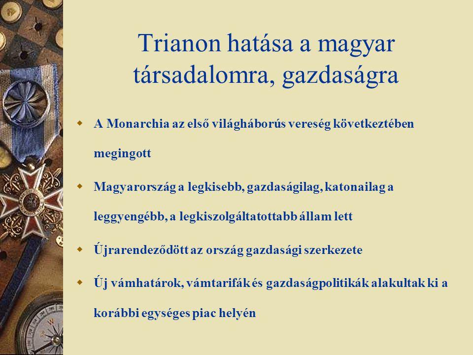 Trianon hatása a magyar társadalomra, gazdaságra  A Monarchia az első világháborús vereség következtében megingott  Magyarország a legkisebb, gazdas