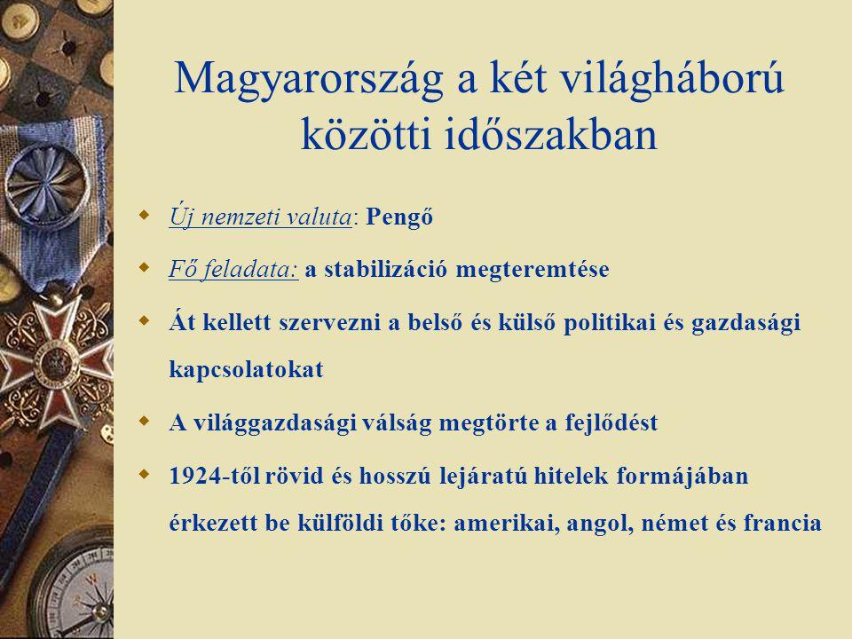 Magyarország a két világháború közötti időszakban  Új nemzeti valuta: Pengő  Fő feladata: a stabilizáció megteremtése  Át kellett szervezni a belső