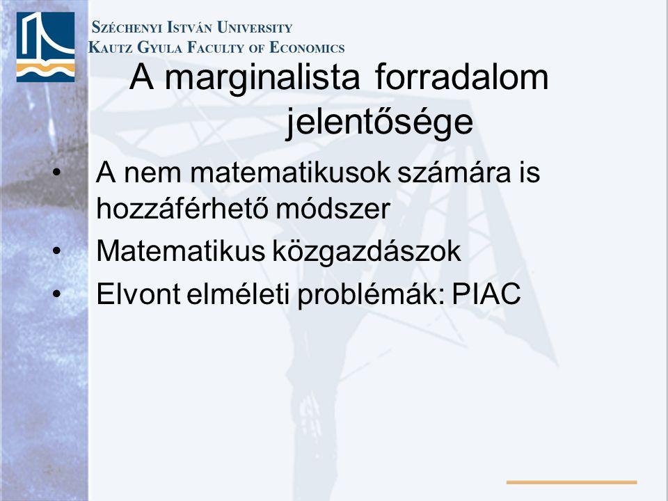 A marginalista forradalom jelentősége A nem matematikusok számára is hozzáférhető módszer Matematikus közgazdászok Elvont elméleti problémák: PIAC