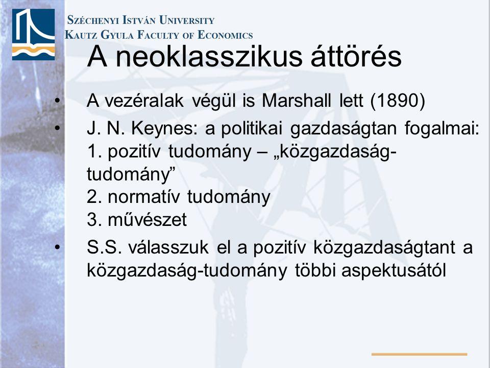 """A neoklasszikus áttörés A vezéralak végül is Marshall lett (1890) J. N. Keynes: a politikai gazdaságtan fogalmai: 1. pozitív tudomány – """"közgazdaság-"""